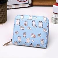 Wholesale Lovely Animal Card - Cute Small Cat kitten Zipper Short Wallet Clutch Bag Girls Kids Women Leather Coin Purse Card Holder New Cartoon Lovely Purse