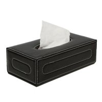 Wholesale Toilet Tissue Holders Wholesale - Wholesale- The Best Quality Elegant Black European PU Leather Magnetic Tissue Paper Box Holder Case Home Car Office