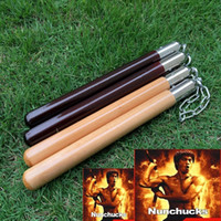 Wholesale Fitness Modelling - Bruce Lee Chinese Kongfu wooden Nunchakus Nunchaku Metal Swivelstandard model learning dedicated Fitness Martial Equipment Free Shipping
