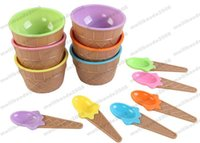 Wholesale Mini Spoons Dessert - 2017 NEW Plastic Ice Cream Cup with Spoon Lovely Dessert Bowl MINI Ice Cream Tools Mix color MYY