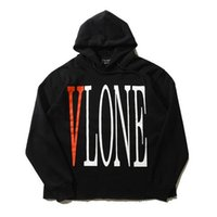 Wholesale Tracksuit Women Big Sizes - Wholesale- VLONE Hoodie Men Big V Print Sweatshirt High Quality Heavy Cotton Oversize Tracksuit Hoodies and Sweatshirts Women Plus Size XL