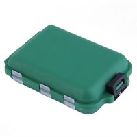 Wholesale Tackle Storage Boxes Plastics - Wholesale- Delicate Army Green Plastic Fishing Tackle Boxes Hook Compartments Storage Case Outdoor Fishing Swivels Lure Bait Storing Tool