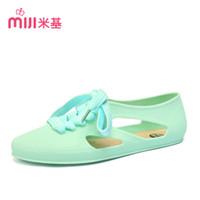 Wholesale Leather Shoe Soles For Sale - Wholesale-MiJi Women's velvet Flat Sandals round toe PVC Sole lace up shoes for woman 2016 new summer fashion hot sale JX-2