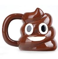 Wholesale Stainless Steel Ceramic Coffee Mugs - Emoticon Mug Poo Emoji Shaped Tea Coffee Drinking Cup Cartoon Emoji Mug without lid 301-400ml ceramic Drinkware mug KKA1084