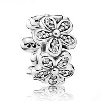 Wholesale Spacer Flat - Authentic 925 Sterling Silver Bead Charm Dazzling Daisies With Crystal Spacer Beads Fit Women Pandora Bracelet Bangle DIY Jewelry HKA3740