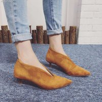 Wholesale Small Heel Shoes Suede - Wholesale-2016 New Sexy Women Pointed Boots Suede Low Boots Autumn Women Shoes Small Heel 4.5cm Black Grey Ankle Boots Botines Mujer