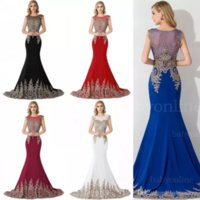 Wholesale Discount Mermaid Dresses - 2017 Best Selling Big Discount Evening Dresses Sheer Crew Neck Appliques Beaded Hollow Sweep Train Mermaid Sweep Train Prom Party Gowns