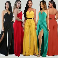 Wholesale European Ladies Jumpsuits - 2017 hot sale sexy ladies fashion multicolor polyester and healthy cloth material with European style Siamese jumpsuit