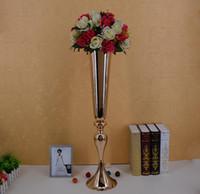 ingrosso vasi alti-elegante Tall sliver Nuovo arrivo! Vaso in metallo dorato, vaso di fiori in oro, vaso tromba in oro per decorazioni
