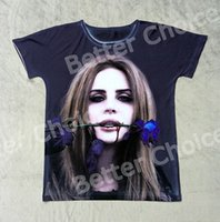 Wholesale Cool Vintage Shirts - Track Ship+Vintage Retro Cool Rock&Roll Punk T-shirt Top Tee Singer Lana Del Rey Bleeding with Blue Rose Lizzy Grant 0798