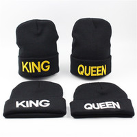 Wholesale King Beanies Black - Hot Sales KING embroidery knit hat ladies autumn and winter QUEEN wool warm hat men trend couple hat