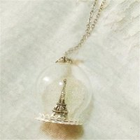 Wholesale Terrarium Globe Necklace - 8pcs Eiffel Tower Glass Globe Necklace - Winter. Magical Terrarium Snowglobe Snow Globe