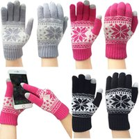 Wholesale Thick Winter Knit Gloves - Wholesale- Wholesale Warm Winter Thick Gloves Knitted Fleece Touch Screen Gloves Snowflake Finger Mittens Gloves For Mobile Phone Tablet