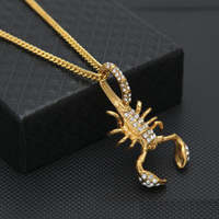 Wholesale Gold Scorpion Pendant - Men Stainless Steel Scorpion Pendant Gold Color Iced Out Rhinestone Animal Pendant Necklace Fashion Hip hop Jewelry