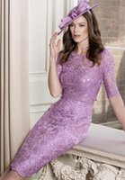 Wholesale Light Purple Lace - 2017 Light Purple Lace Mothers Dresses Wedding Guest Cheap Half Sleeves Scoop Neck Full Lace Knee Length Mother Of The Bride Dresses