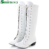 botas de invierno blanco venta al por mayor-Al por mayor-Nuevo 2016 Plus tamaño 34-43 Mujeres botas Otoño Invierno High Knee botas Sapatos femininos Lace Up Zipper Blanco ventas calientes