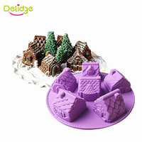 Wholesale Chiffon Cake Mold - Delidge 1 pc Small House Cake Mold Silicone Christmas 6 House Chiffon Cake Mold DIY Fondant Different Shape House Baking Mould