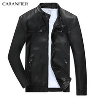 Wholesale Rider Style Jacket - Wholesale- CARANFIER Men Warm Breathable Leather Jacket High Quality Windproof Soft Male Motorcycle Rider Businessmen Style M~3XL