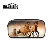 Wholesale Horse Stationery - Wholesale- 3D Horse Print Student Pencil Bag Women Travel Makeup Bag Cosmetic Cases Kids Stationery Pouch Office School Supplies Necesser