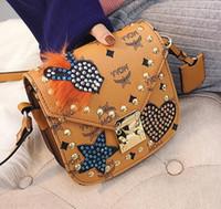Wholesale Hard Street Bags - brand handbag factory street style fashion personality messenger bag clamshell diamond rivet rivet printed Leather Shoulder Messenger Bag