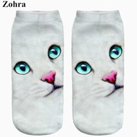 Wholesale Mint Acrylic - Wholesale- New arrival Mint Eyes Cat Full Printing Women's Low Cut Ankle Sock Meias Hosiery Casual Calcetines Slippers Socks