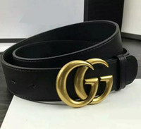 Wholesale Genuine Leather Belts For Men - 2017 New Famous Brand Men Women Leather Belt Gold Buckle Women Genuine Leather Designer Belts for gift