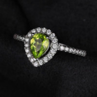Wholesale Peridot 925 Ring - JewelryPalace Pear 0.8ct Natural Peridot 925 Sterling Silver Ring For Women Inlay High Quality Cubic Zirconia Gemstone Jewelry