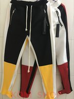 Wholesale Match Men Cargo Pants - 2018 NEW justin bieber matching color Sweatpants stripes splice men pants hip hop Fashion Fear of God Fog pocket Side zipper jogger pants