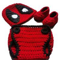 Wholesale Crochet Diapers - Super Cool Newborn Deadpool Costume,Handmade Crochet Baby Boy Girl Anime Hat,Booties and Diaper Cover Set,Toddler Halloween Photography Prop