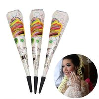 Wholesale Painting Finger - 3X White Natural Indian Henna Tattoo Paste Cones For Wedding And Festival Mehndi Cream For Finger Body Paint 25g