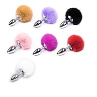 Wholesale Anal Bunny Tail - JACK 7 Color Small Size Metal Rabbit Tail Anal Plug Stainless Steel Bunny Tail Butt Plug Anal Sex Toys for Women Adult Sex Products