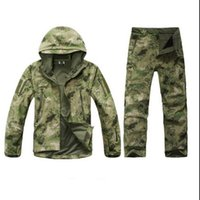 Wholesale Camouflage Waterproof Hunting Jacket - Wholesale-TAD Stalker Shark Skin Camouflage Hunting Jackets Fishing Waterproof SoftShell Outdoor Jacket Set Sport Army Clothes S6