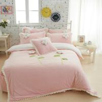 Wholesale twin pink princess bedding duvet - Wholesale-Thick Fleece Girls Bedding sets King Queen Twin Size Bedclothes Princess Bed skirt Duvet cover Decorative Cushion 4 5 6Pcs