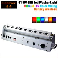 Wholesale Battery Led Stage Lighting - TIPTOP 9*18W 6 IN 1 RGBWA UV Color Mixing Battery Wireless Led Washer Light Angle Adjustable Remote Stage Washer DMX512 6 10CH China Light