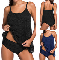 Polyester sport tankini tops - 2017 Sexy Women Two Pieces Tankini Lace Swimwear Beach Wear Plus Size S XL Top Quality Solid Color Sport Bathing Suit