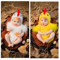Wholesale Chicken Costume White - Baby photography props animal costume 2 colors white yellow cock chicken outfits hat+bodysuit 2pcs studio shooting clothing