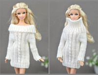 Wholesale Handmade Wool Dresses - Pure White Doll Accessories Knitted Woven Handmade Tops Coat Dress Clothes Sweater For Barbie Doll Gifts For Girls Kids Toy