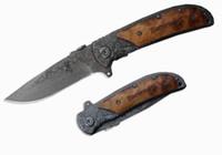 Wholesale Popular Tattoos - Popular Knife Stainless Steel 440C 57HRC Damascus Tattoo Kageki Handle Camping Knife Browning 338 Folding Knives B216