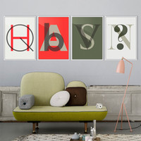 gráficos de pared modernos al por mayor-Minimalista Carta Resumen Gráfico Pop Gran Cartel Imprimir Hipster Dormitorio Pintura de la Lona Nordic Home Modern Wall Art Decor Regalo