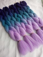 Wholesale Extensions Light Blue - New 24inch 5packs lot Synthetic Jumbo Braiding Hair Cabelo Extensions Purple sky blue light Purple 3Tone Ombre Crochet Braids Hair Bulk