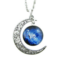 Wholesale Costume Silver Necklace - Newest Trendy Jewelry Colorful Earth And Moon Shape Design Pendant Necklace For Women Cheap Costume Jewelry