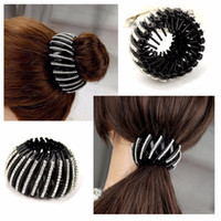 Wholesale Hairpin S - Shrinkable Hairpin 2017 New Womens Hair Accessories Bud Hair Clip Nest Shape Hair Ties Ponytail Holder Black Color Size L S HC58