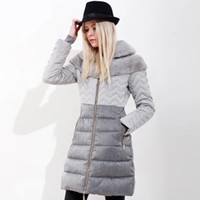 Wholesale Bump Down - Europe and America bump color stitching down jacket, female straight cylinder, micro A, long paragraph thickening, tide luxury fur, temperam