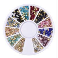 Wholesale New 3d Nail Decorations - New 3D Nail Art Rhinestones Mix Acrylic Glitters Tips Decoration Manicure Wheel Tip Back Nail DIY Decoration