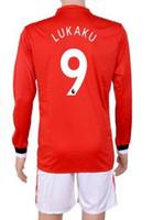 Wholesale cheap soccer uniforms kits - Customized 17-18 new season 9 Lukaku Soccer Jerseys long sleeve SetS,Cheap 10 IBRAHIMOVIC uniforms,10 ROONEY 19 RASHFORD Jersey Wear kits