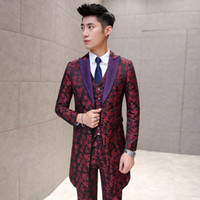 Wholesale Trendy Club Clothes - Wholesale- bleiser masculino blaser Luxury Club Jacket Gold Clothing Floral Suits Casual Leopard Print Silm Pantalon Prom Vintage Trendy