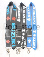 Wholesale Suzuki Key Chains - Quantity is with preferential treatment! SUZUKI motorcycle Lanyard Keychain Key Chain ID Badge cell phone holder Neck Strap three colors.
