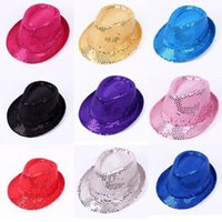 Wholesale Black Sequin Fedora - New Unisex Fancy Dress Gangster Hat Fedora Trilby Sequin Cap Hats For Dance Party Stage Performance
