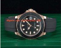 37мм часы мужчин оптовых-Модные роскошные наручные часы автоматический черный циферблат 18-каратного золота Everose резиновый ремешок 37 мм мужские часы мужские часы часы