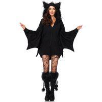 Wholesale sexy animal women costume online - Bat Costume Sexy Animal Cosplay Fashion Costume Women Halloween Black Bat Party Zipper Costume